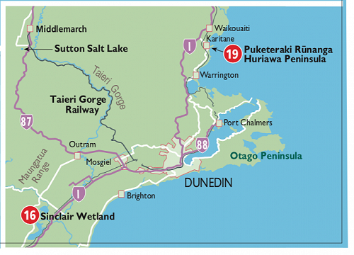 Map indicating events to the North and South of Dunedin City.