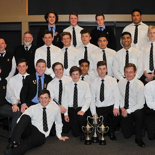 Members of the 1st XV after receiving the Team of the Year Award.