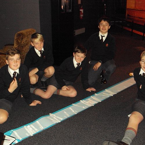 Year 8 students completing a timeline of the development of Dunedin in relation to what was happening in the rest of New Zealand and the World.