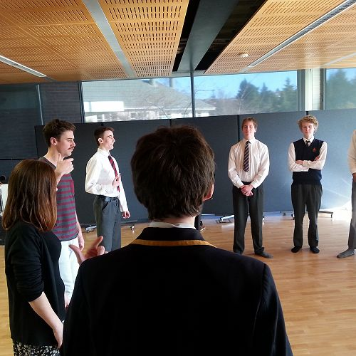 Fortune Theatre actor Simon Leary takes the senior drama class through some vocal exercises