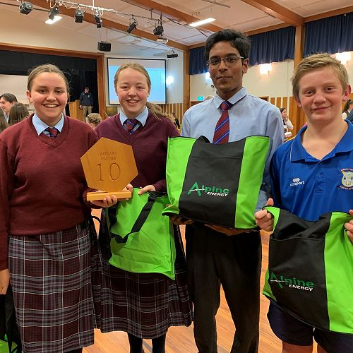 Year 10 winning team: Amy Regenvanu, Amelia Rattray, Krishna Sridhar and yr 9 Mitchell Green