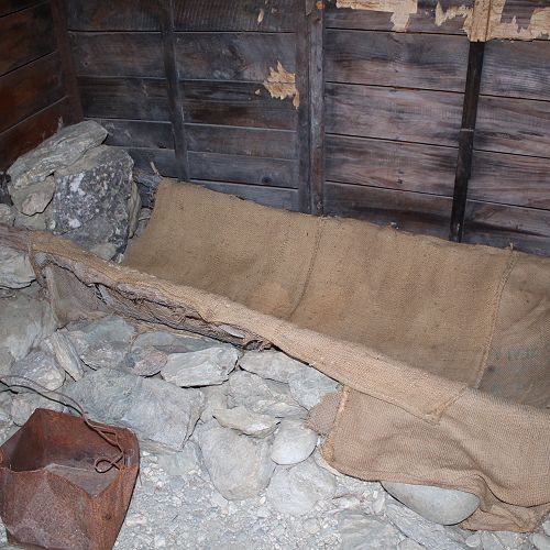 Bed in a Chinese miner's hut