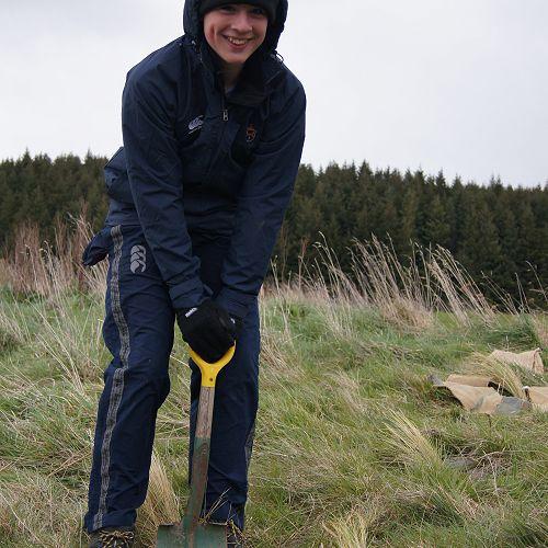 Max planting a tussock at Waipori Falls