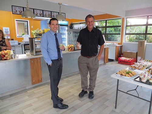 Principal Daniel Wilson (left) and Salvi Gargiulo think the cafe's up to scratch.