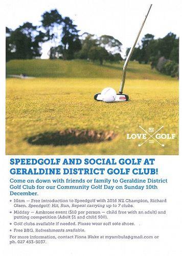Speedgolf and Social Golf at Geraldine District Go