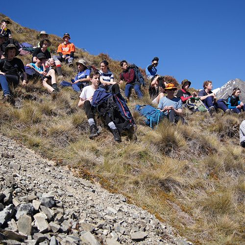 Having a break - climbing Mt Mason