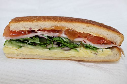 Ham, cheese and salad sandwich $1.50