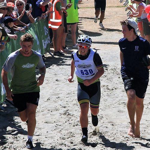 Cormack Tarrant, Josh Grosvenor and Cameron Brewitt - the finish