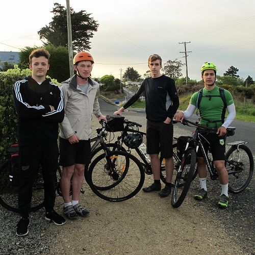 Our group in Karitane just before we began Left           to right: Jimmy McEwan (support crew), Christian Tucker,           Michael Sewell, Seamus Leahy