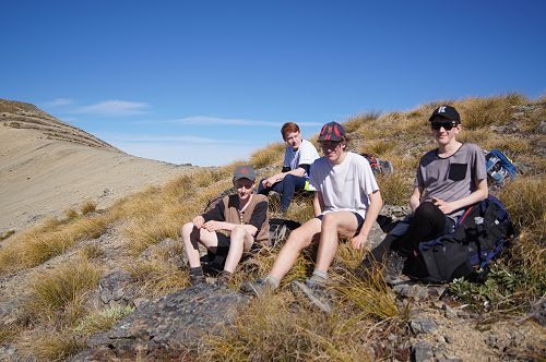 Adrian, Matthew, Barend and Neil on the ridge to M