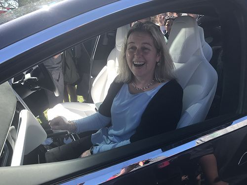 Mrs Buckley tries out a Tesla