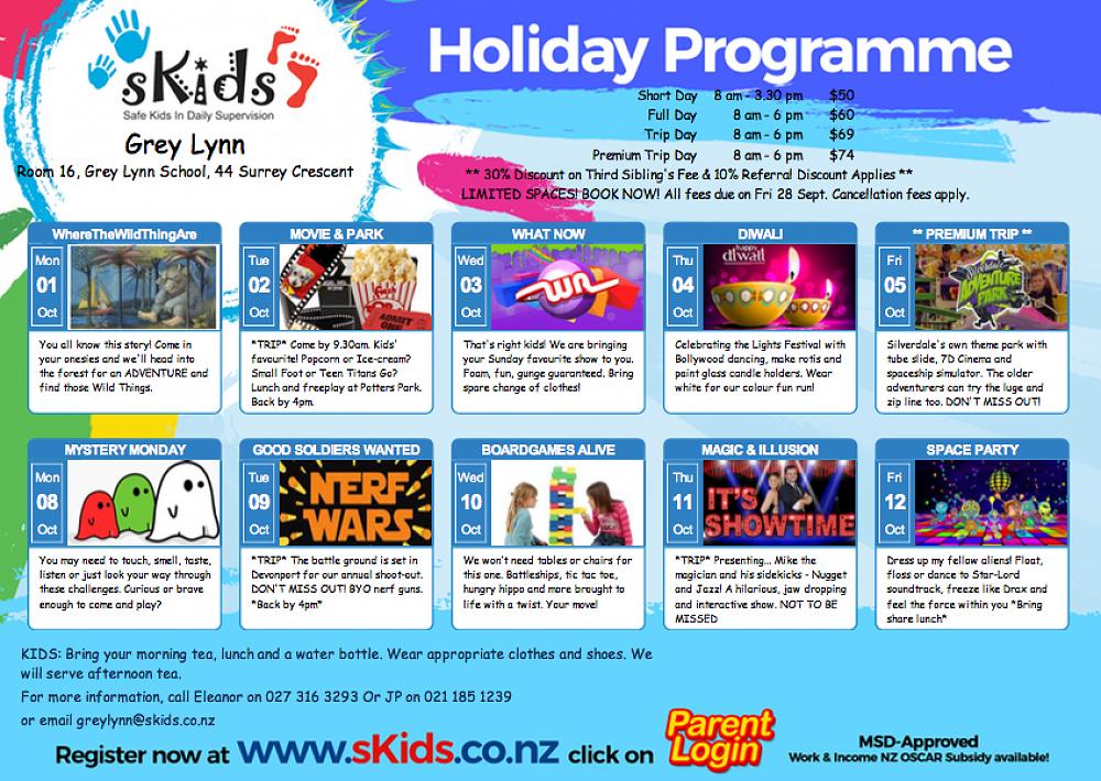 sKids - School Holiday Programme Term 3, 2018 - Newsletter