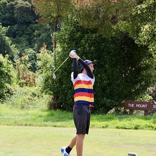 Golf captain Callum White teeing off during the golf interschool against St Andrews College.