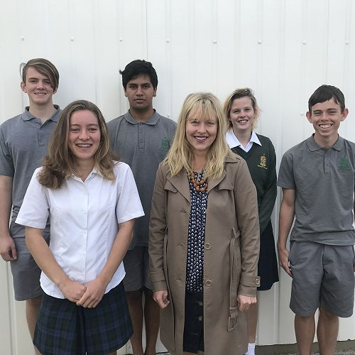 From left to right, back row: Liam Jackson, Davinder Kumar, Phoebe Robertson; front: Madeleine Schnackenberg, Mrs Finnemore, Mac Willacy