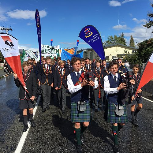 John McGlashan pipers, Lochie Chittock and Nicolas Chamberland lead the Maadi procession at one of the biggest secondary school sporting events in Australasia.