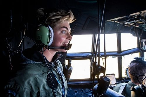 Alesha in the cockpit of a RNZAF C-130 Hercules