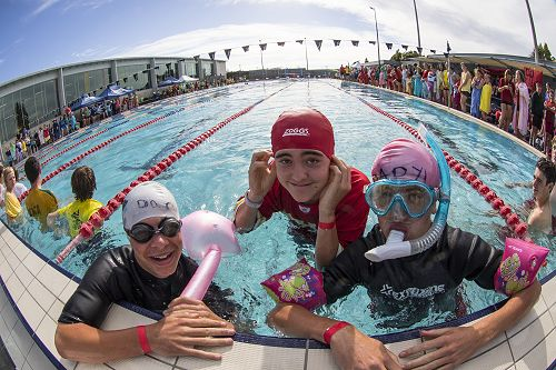 George Laing, Mack Odey and Jo Ioane getting into the Spirit of the Swimming Sports