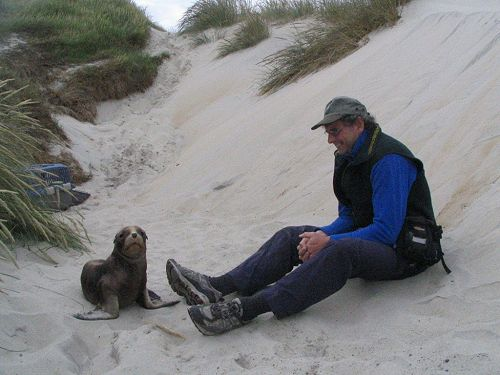 Steve and sea lion pup