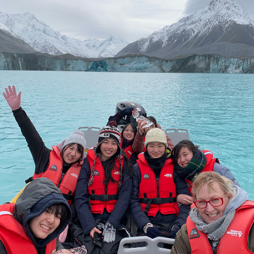 Sharon and the international girls loving their boat trip to the Tasman Glacier