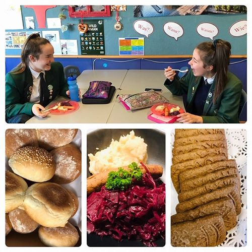 Ellie Neville and Kayla Millar chatting over their German lunch