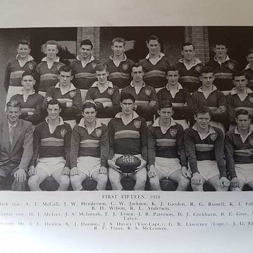 1958 First Fifteen. George Lawrence Captain - front row centre