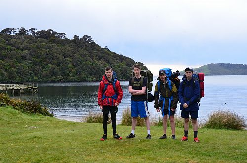 Louie, Sam, Rhys and Zac ready to leave on day 3