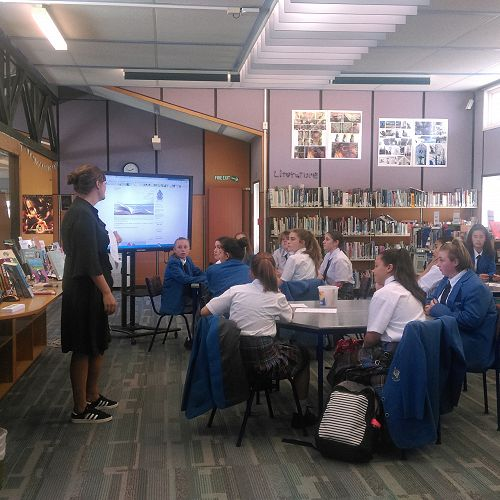 Year 9 students in the information centre