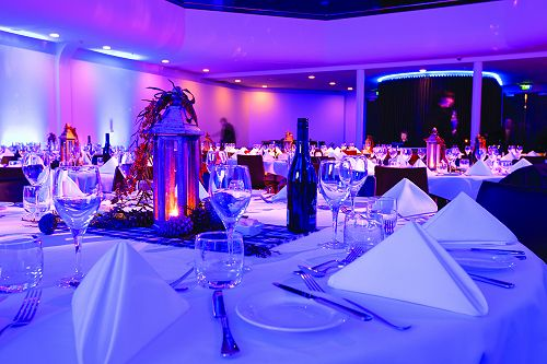 Beautiful table settings at the Glenroy Auditorium