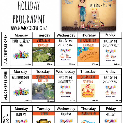2019 Holiday Programme