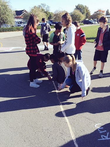 Students add to our coin trail from NZ to Vanuatu.