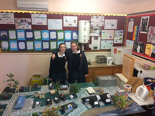 Michaela and Mackenzie with their miniature town