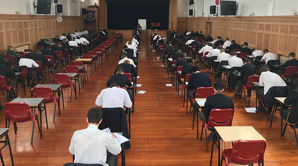 Senior students sit practice exams at the start of term