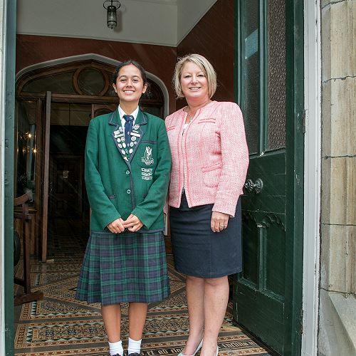 Lydia Joseph, Head Prefect and Mrs Hayes, Principal