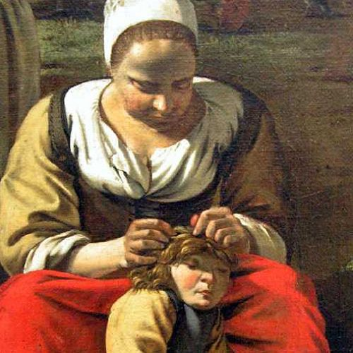 Mother hunting for headlice, detail of a painting by Jan Siberechts