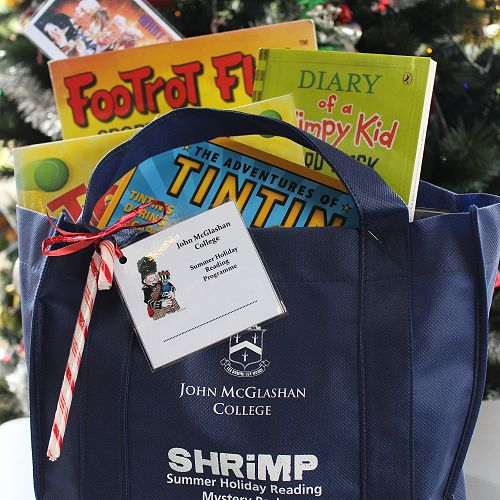 A JMC SHRIMP pack - brimming with books and ready to go.