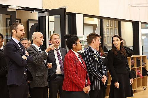 Prime Minister Jacinda Ardern being shown around by the Head Boy and Head Girl.