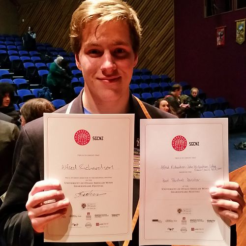 Alfred Richardson - winner of 'Best Student Director' for the Otago Regional Final for The SGCNZ University of Otago Sheilah Winn Shakespeare Festival.