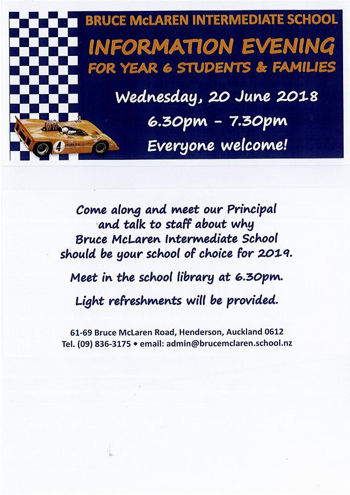 bruce mclaren intermediate info evening