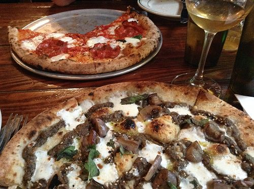 Wood-fired oven pizzas at Roberta's, Bushwick