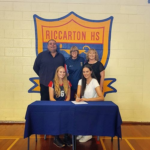Jade Jenkins (front right) pictured with her parents Bryce and Sherie, her sister Mia and Mrs Mary Edmunson (coach and manager).