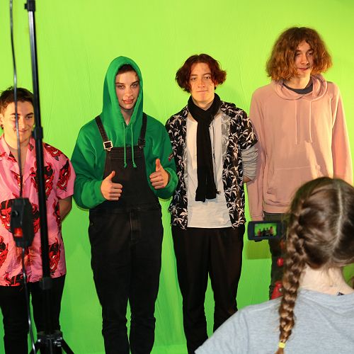 Media Studies students learning to use equipment