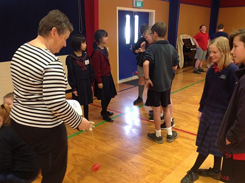 Mrs Healey was great at the Kendama game!