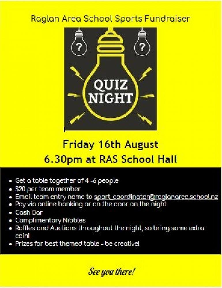 RAS QUIZ NIGHT - 16 AUGUST - RAS Community Newsletter - Term