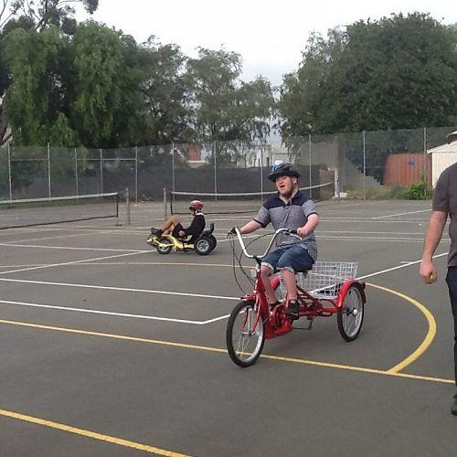 Jack Murphy on the adult trike.
