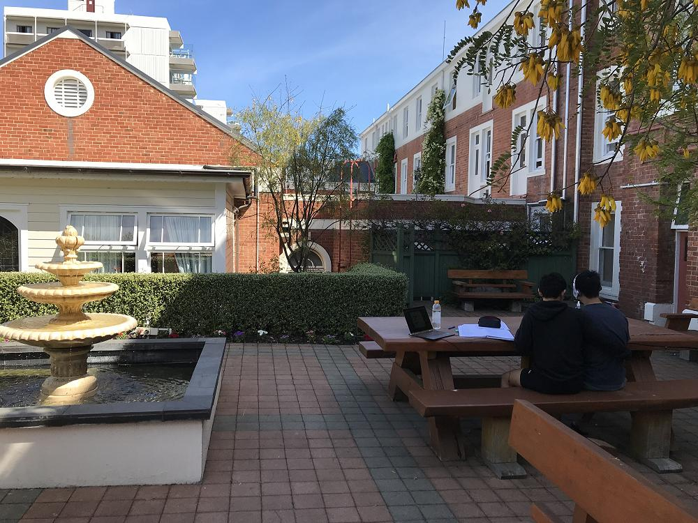 Studying in the courtyard - 19 October 2017