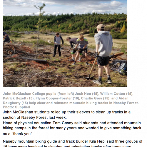ODT article - Year 11 PE Mountain Bike Camp