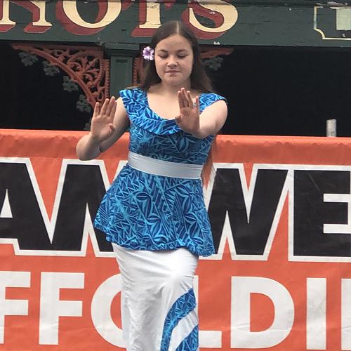 Tiana Elisara performing at the South Dunedin Street Festival
