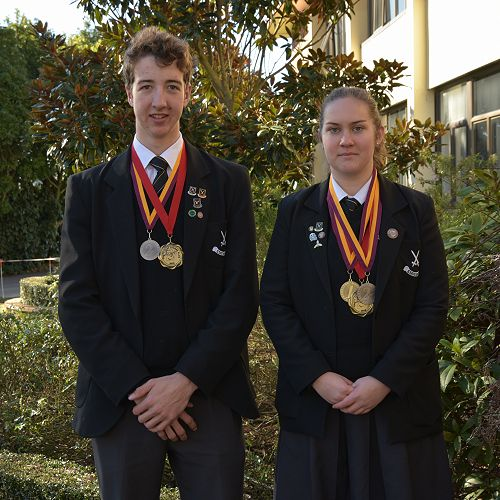 Shooters Jonathan Porritt (Year 13) and  Louise van Bysterveldt (Year 13)