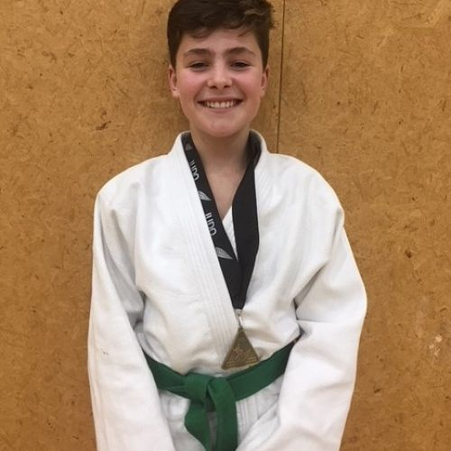 Ben Davies (Year 9) receives his gold medal at National Secondary Schools' Judo Championships