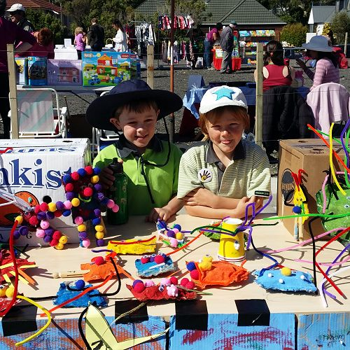 Ben and Echelon Selling Bean Bags at the Churton Park Market Day